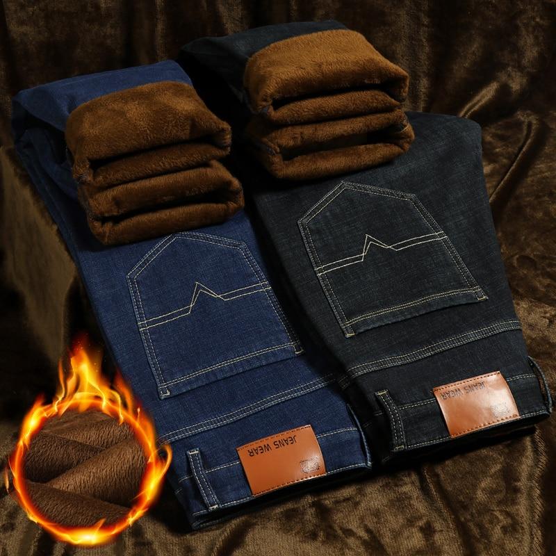 40 42 44 Plus Zise Winter   Jeans   Men 2019 New Classic Style Business Straight Denim Warm Trousers Male Black Blue Brand Trousers