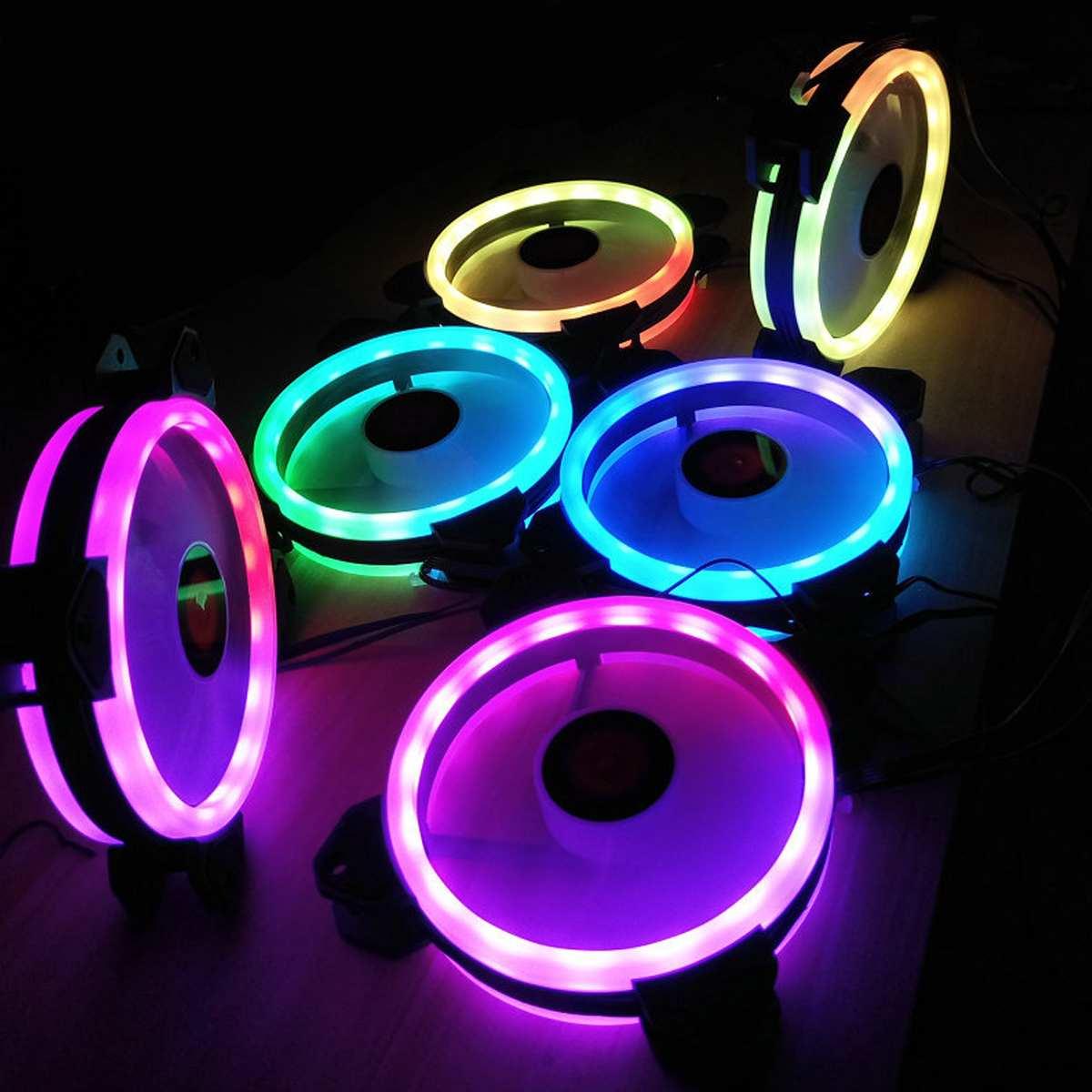 6 pièces coque d'ordinateur PC ventilateur de refroidissement RGB ventilateur de refroidissement ajuster LED 120mm silencieux IR à distance ordinateur refroidisseur refroidissement RGB boîtier ventilateur pour CPU - 4