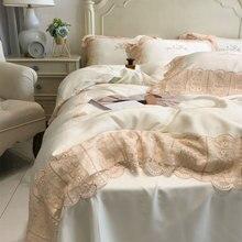 Juego de ropa de cama de encaje de princesa para adolescentes y adultos, funda de almohada, funda de edredón, tamaño king de moda vintage, doble textil para el hogar