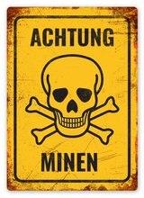 Achtung Minen Tin Zeichen kunst wand dekoration, vintage aluminium retro metall zeichen, eisen malerei