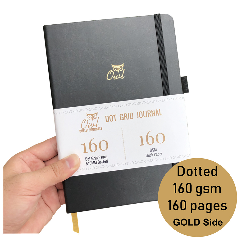 Dotted Bullet Grid Journal Daily Writing Inspirational Happiness Notebooks GOLD SIDES