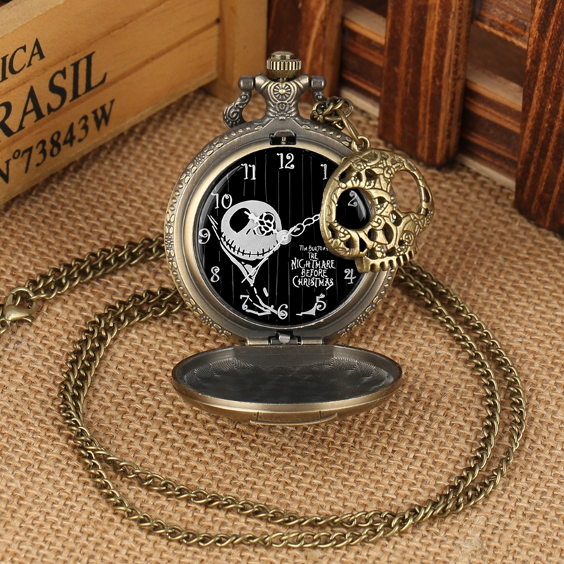 Tim Burton Necklace Clock The Nightmare Before Christmas Quartz Pocket Watch Jack Skellington  Pendant Hour with Skull Accessory