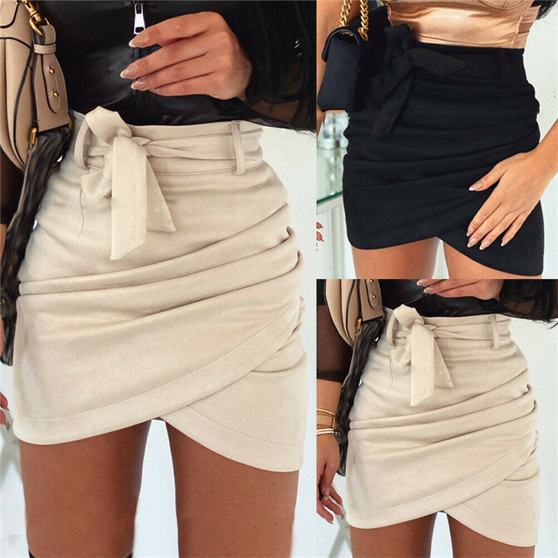 Asymmetric Belt Suede Skirts Women Bodycon Leather Spring Skirts 2020 New Sexy Streetwear High Waist Bandage Short Skirts Femme