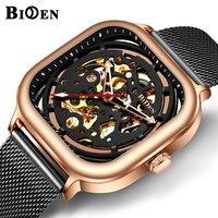 BIDEN Automáticas Homens Mecânicos do Relógio Quadrado Preto Rosa de Ouro De Malha de Aço Strap Esqueleto Dial Mens Relógios Top Marca de Luxo Relógio|Relógios mecânicos| |  -