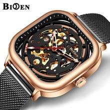BIDEN Automatic Mechanical นาฬิกาผู้ชายสีดำ Rose Gold ตาข่ายสตีลโครงกระดูก Dial Luxury นาฬิกา