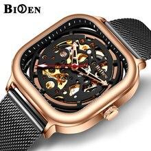 BIDEN Square Automatic Mechanical Watch Men Black Rose Gold Mesh Steel Strap Skeleton Dial Mens Watches Top Brand Luxury Clock