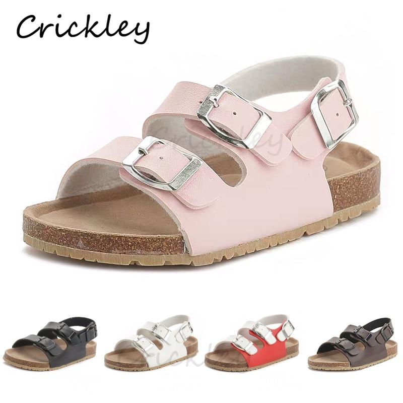 Cork Kids Solid Sandals Gladiatus Comfortable Soft Sole Buckle Strap Sandals For Little Girls Boys Summer Shoes 3T-12T