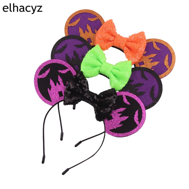 1PC New Halloween Festival Glitter 4 39 39 Sequins Bows Minnie Kids Minnie Mouse 3 3 39 39 Ears Hairband DIY Boutique Hair Accessories in Hair Accessories from Mother amp Kids