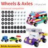 96 Uds bloques de ruedas de coche del eje del conjunto de accesorios de Birck para bloques de construcción creativo bloques de juguete para regalo para niños DIY del coche de ladrillo