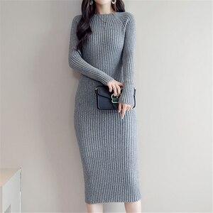 Image 3 - Sweater Dress Women Korean Fashion Woman Knit Dresses Winter Woman Cardigan Bodycon Dress Elegant Women Sweaters Dresses Vestido