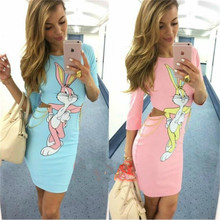 Best seller 2019 summer woman Bunny Printing Hollow Out Dres