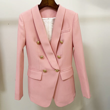 2020 New Pink Blazer Women Suit Classic Gold Double Breasted