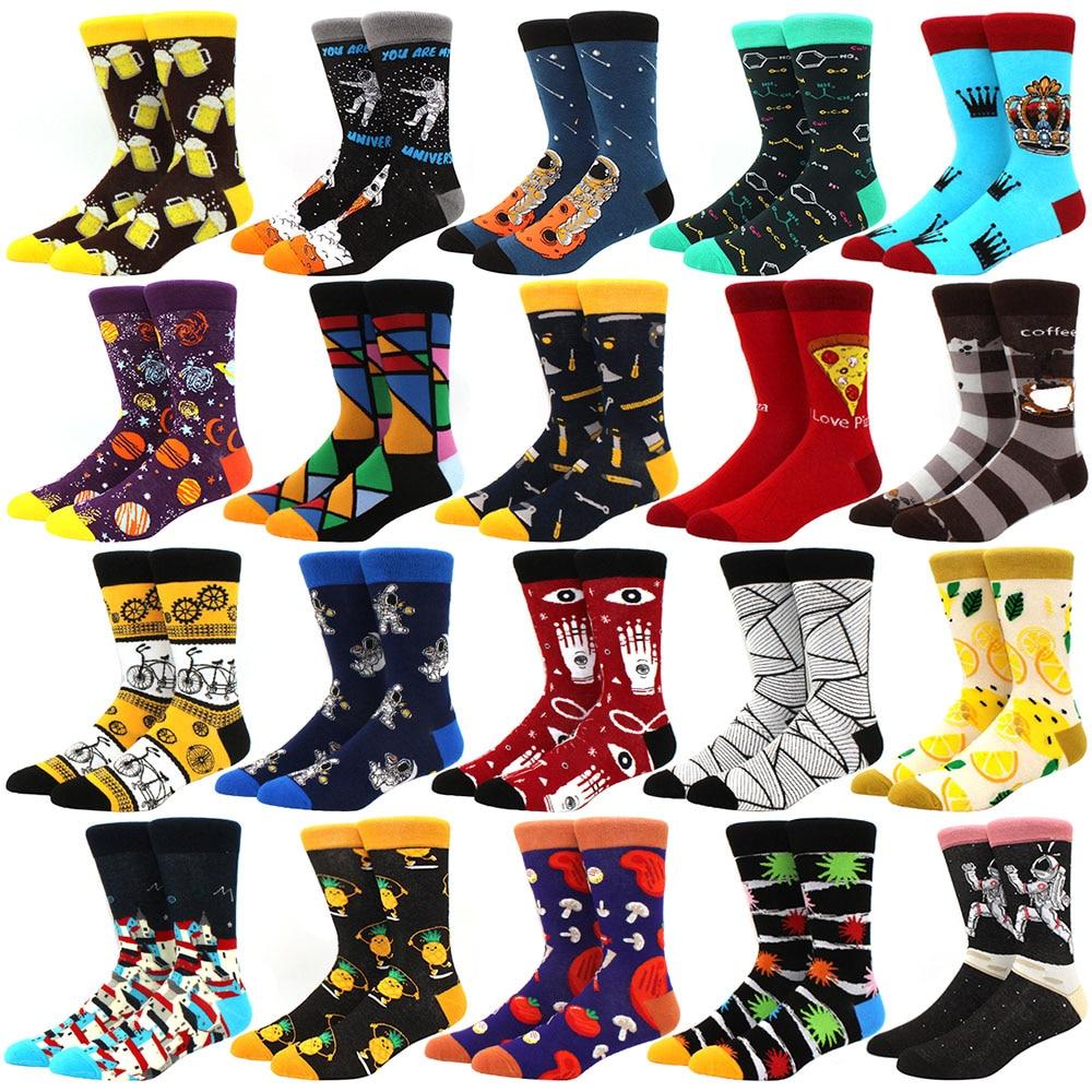 New Mens sock Brand Diamond Ramen Astronaut Pattern Hip hop Cool Socks for Men Winter