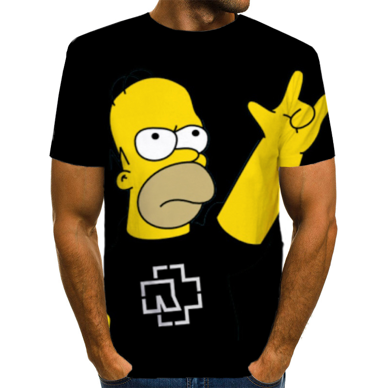 Obese People T Shirt Fat Simpson T-shirt Cute Funny Simpsons Printed 3D Tops Puls Size 4XL Summer Casual Men/Women Black Tshirt