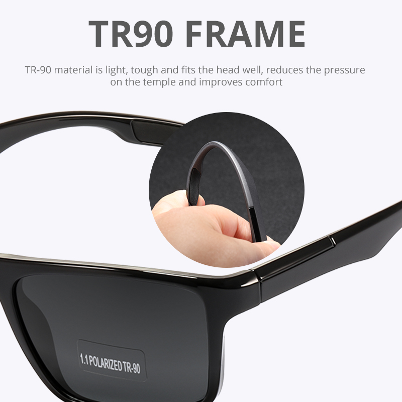 KDEAM Rectangular Ultra Light TR90 Sunglasses Men Polarized TAC 1.1mm Thickness Lens Driving Sun Glasses Women Sports Cat.3 4