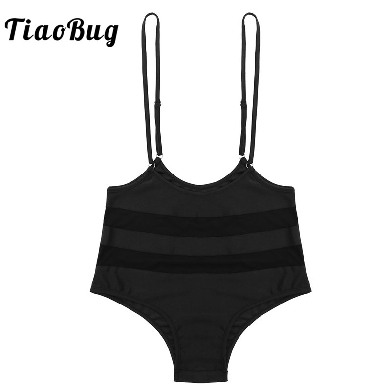 TiaoBug Women Mesh Splice Adjustable Spaghetti Straps Suspender Bottoms Sports Pole Dance Shorts Nightclub Party Rave Costume