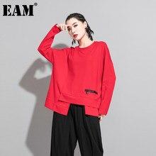 [EAM] T-shirt da donna di grandi dimensioni con spacco irregolare rosso nuovo girocollo manica lunga moda marea primavera autunno 2021 1DA605
