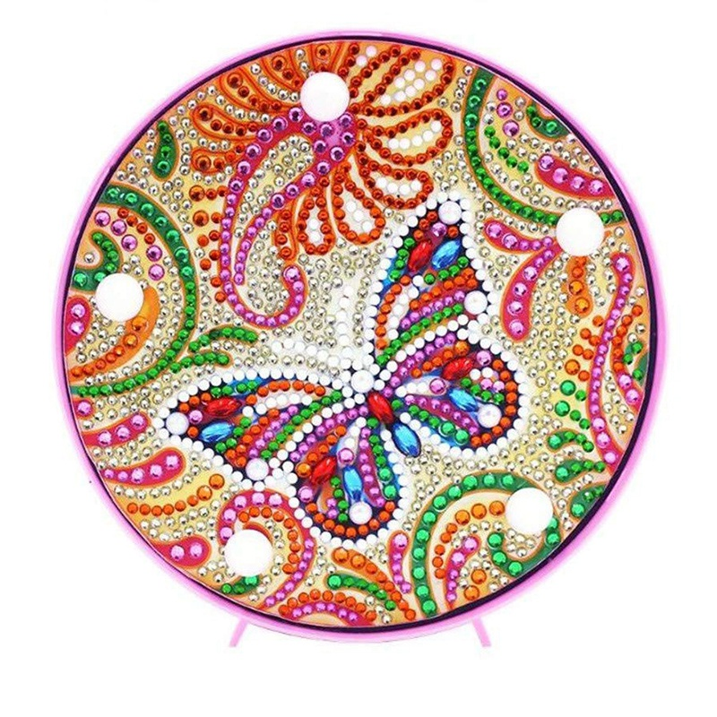 5D Diy Full Drill Butterfly Diamond Light Lamp Rhinestone Embroidery Special Shape Led Diamond Painting Lamp