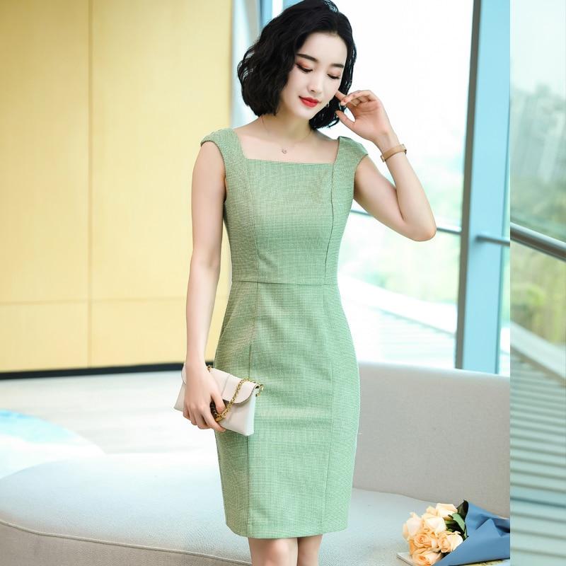 Fashion Styles Sleeless Dressses Elegant Green Summer Fall Dress for Women Business Work Wear Professional Office Vestidos