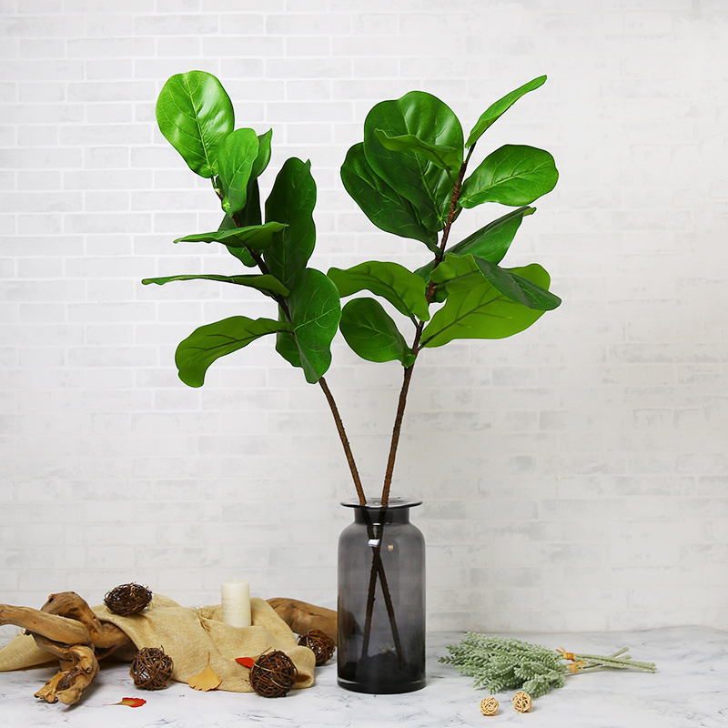 105cm Plastic Banyan Leaves Large Artificial Tree Branch Tropical Fake Ficus Tree Leafs Green Palm Plants For Home Wedding Decor