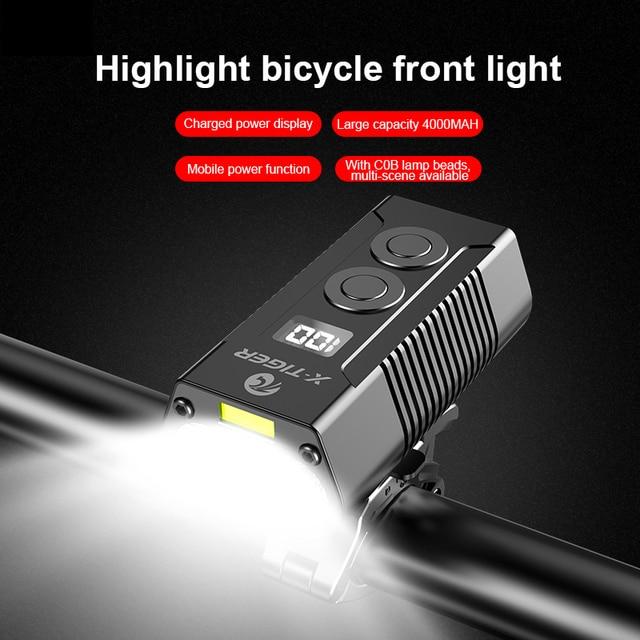 X-TIGER 4000mah luz da bicicleta 1800 lumens mtb ciclismo frente lanterna exibição de energia mountain bike luz usb recarregável led 2
