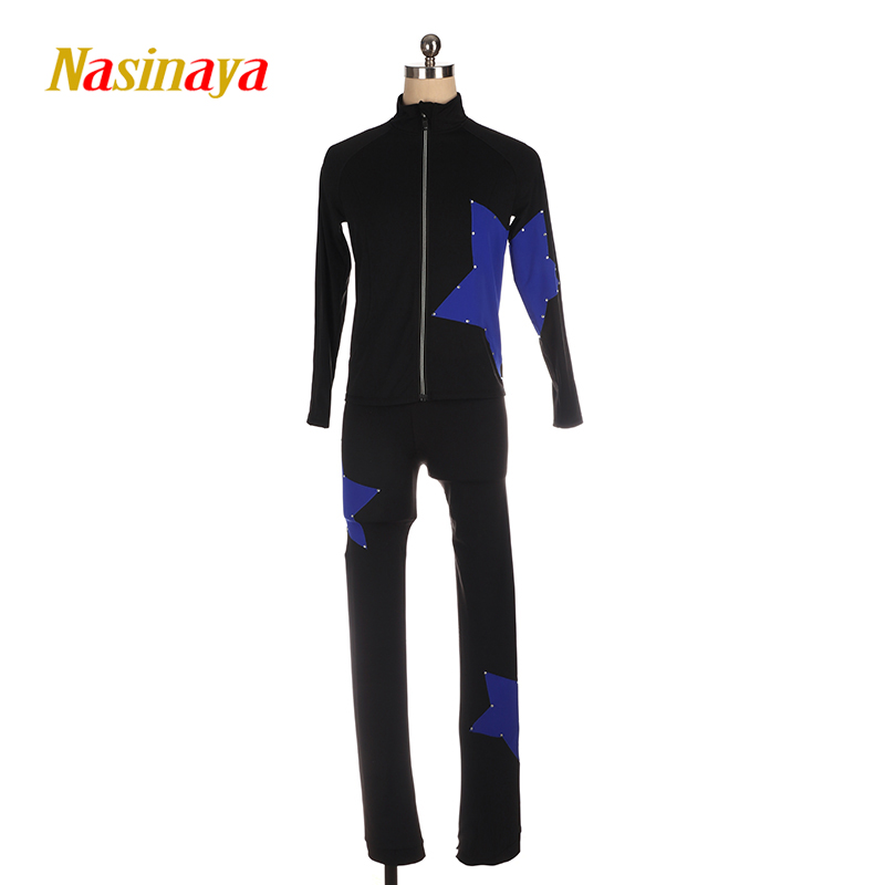 Customized Figure Skating Suits Jacket And Pants Long Trousers for Girl Women Training Ice Skating Warm Gymnastics Pentagrams