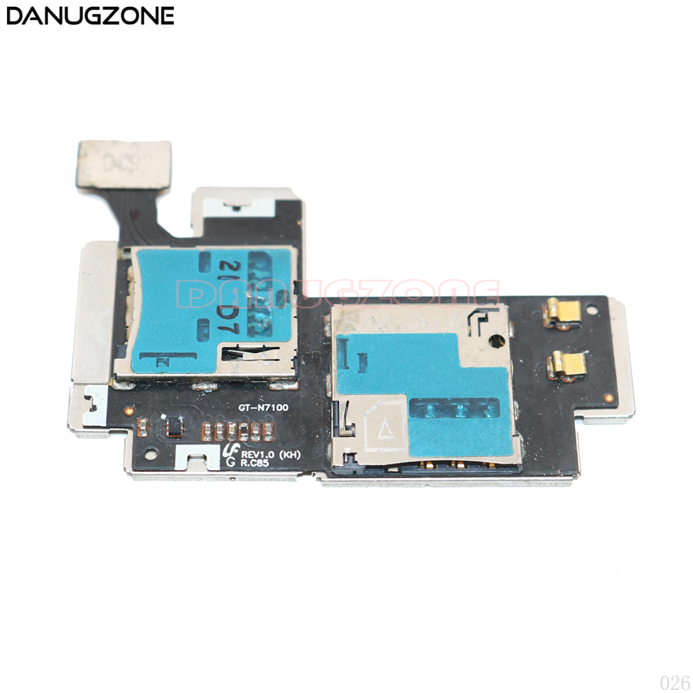 SIM Card Holder Micro SD Memory Socket Slot Tray Connector Flex Cable For Samsung Galaxy Note2 N7100