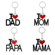 Metal Family Pendant Keychain I Love MAMA/MOM/DAD/PAPA Letter Key Chains Souvenir Jewelry Key Ring Mother Father 's Day Gift(China)