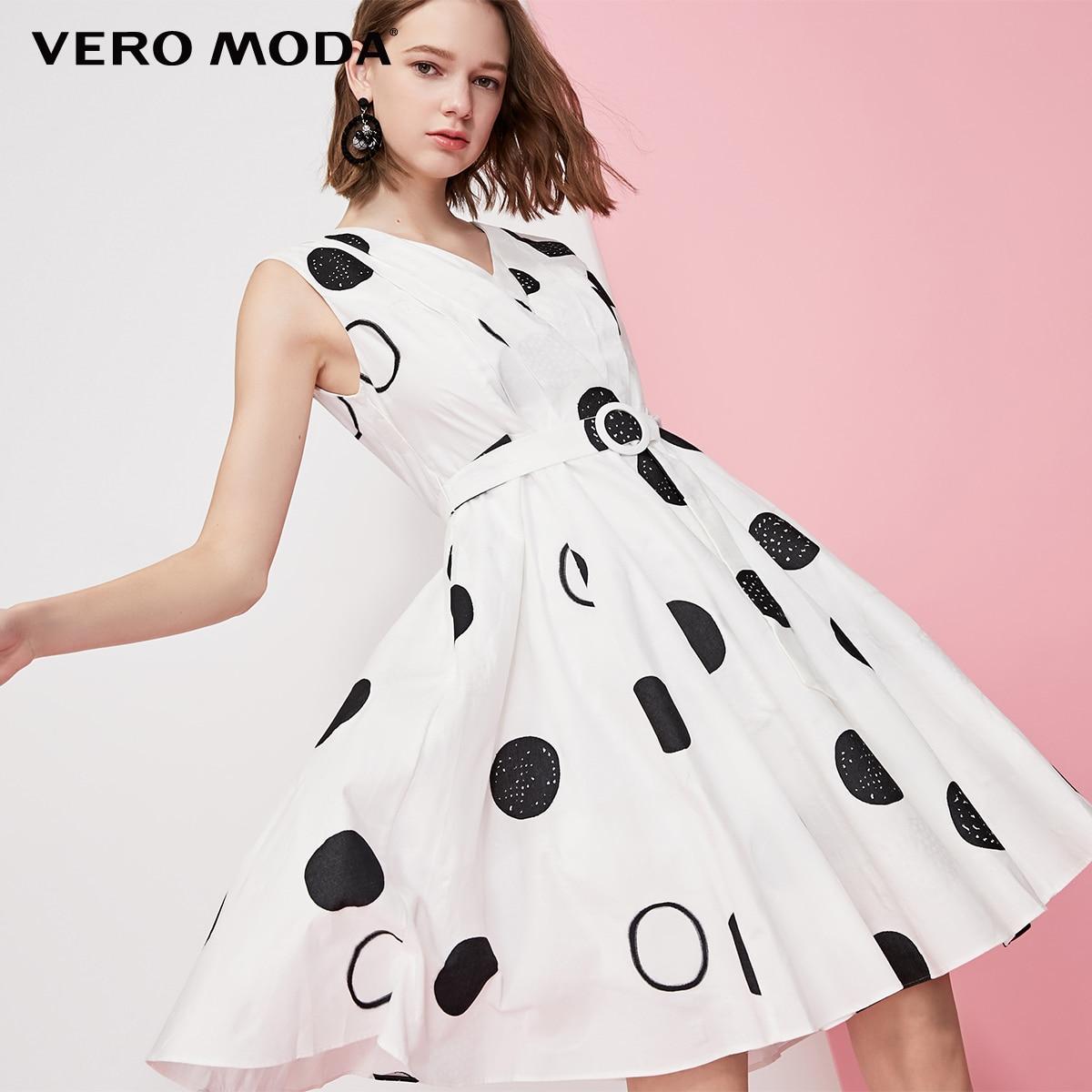 Vero Moda Women's Vintage Cotton Polka Dots Print V-neckline Sleeveless Dress | 31927A562