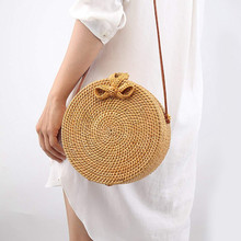 Bali Vintage Handmade Crossbody Leather Bag Round Beach Bag Girls Circle Rattan bag Small Bohemian Shoulder bag(China)