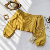 vintage women blouse and shirts slash neck solid long sleeved lady elegant pullovers outwear tops