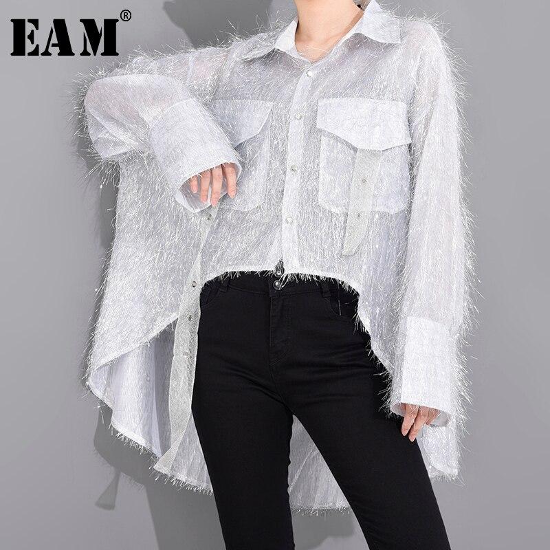 1602.36руб. 32% СКИДКА|Женская блузка EAM, с длинным рукавом, ассиметричная, с кисточками, с отворотом, весенне летняя, 2020| |   | АлиЭкспресс
