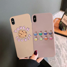 JAMULAR Cute Cartoon Cookies Fitted Case For iPhone XS MAX XR X 7 8 6 6s Plus Corgi Simple Painting Soft Phone Cover Letter Capa