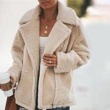 Women Soft Warm Plush Jacket Winter Turn-down Collar Zipper Fleece Lady Coats 20