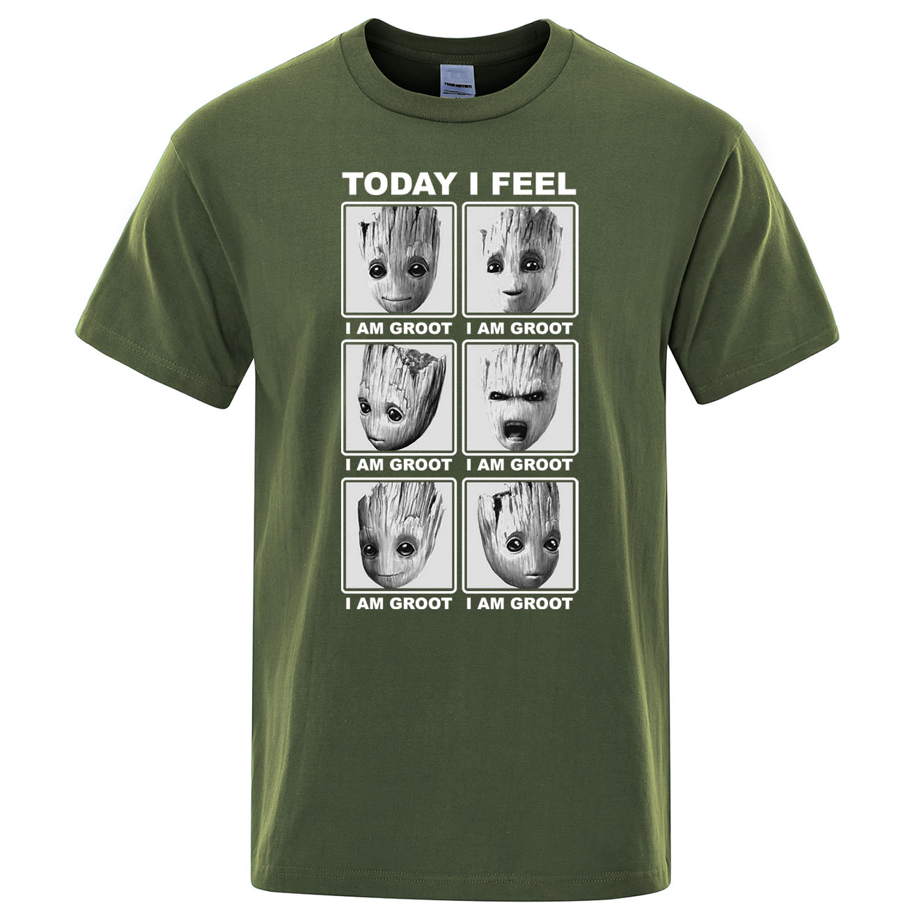 Marvel Top Tees Today I Feel I Am Groot T Shirt Men Cotton Streetwear T-shirt Hip Hop Tshirt Cartoon Harajuku Camisetas Hombre