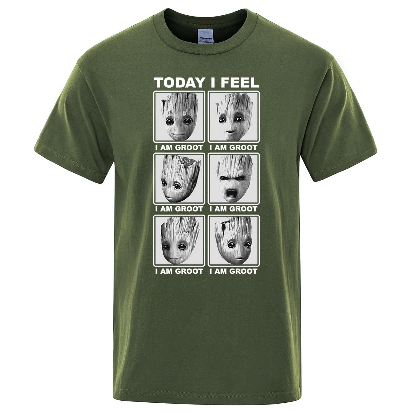 Marvel top tees hoy me siento yo soy groot t Camisa de algodón de los hombres streetwear camiseta Hip Hop camiseta de dibujos animados Harajuku nuevas camisetas para hombre
