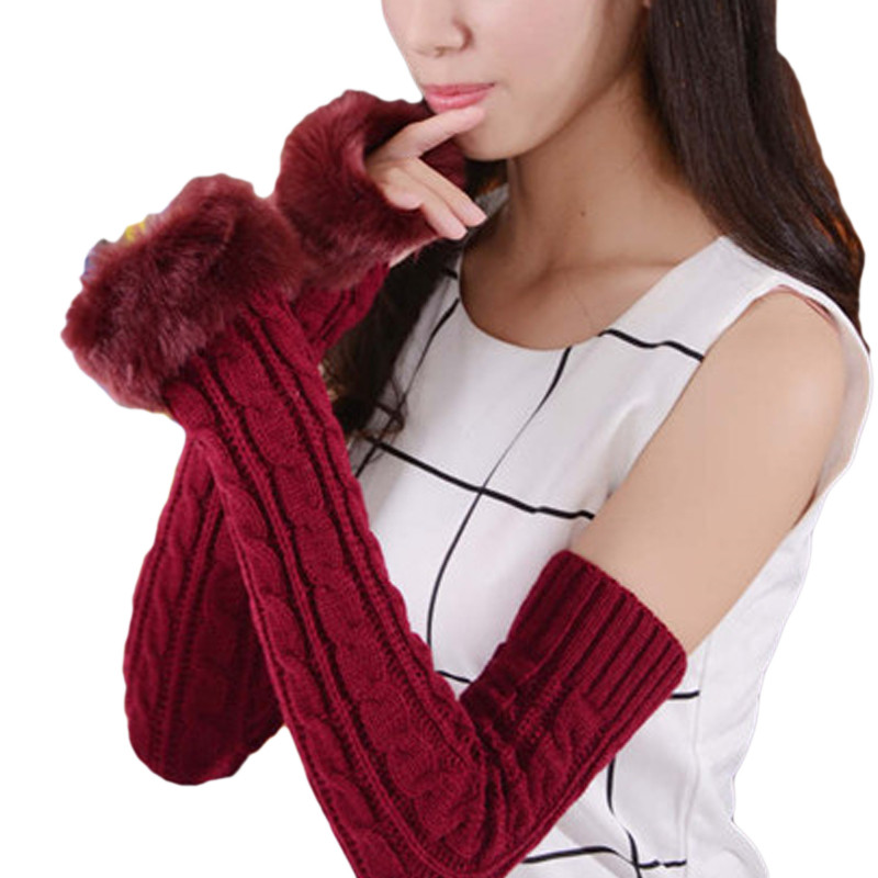 Women 2020 Autumn Winter Warm Knitted Arm Fingerless Gloves Long Stretchy Mittens Hand Arm Female Faux Fur Patchwork Half Gloves