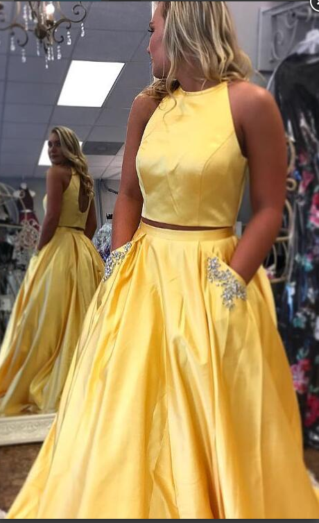 Two Pieces Yellow Prom Gown With Pockets Floor Length Long Skirt Women Formal Evening Dress Robe De Soiree