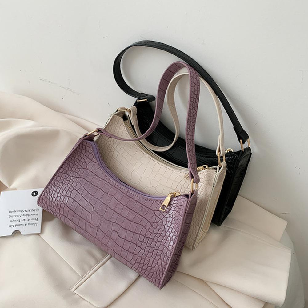 2020 New Fashion Alligator Leather Baguette Bag Lady Shoulder Messenger Bags Women Leather Handbags Luxury Brand Crossbody Totes