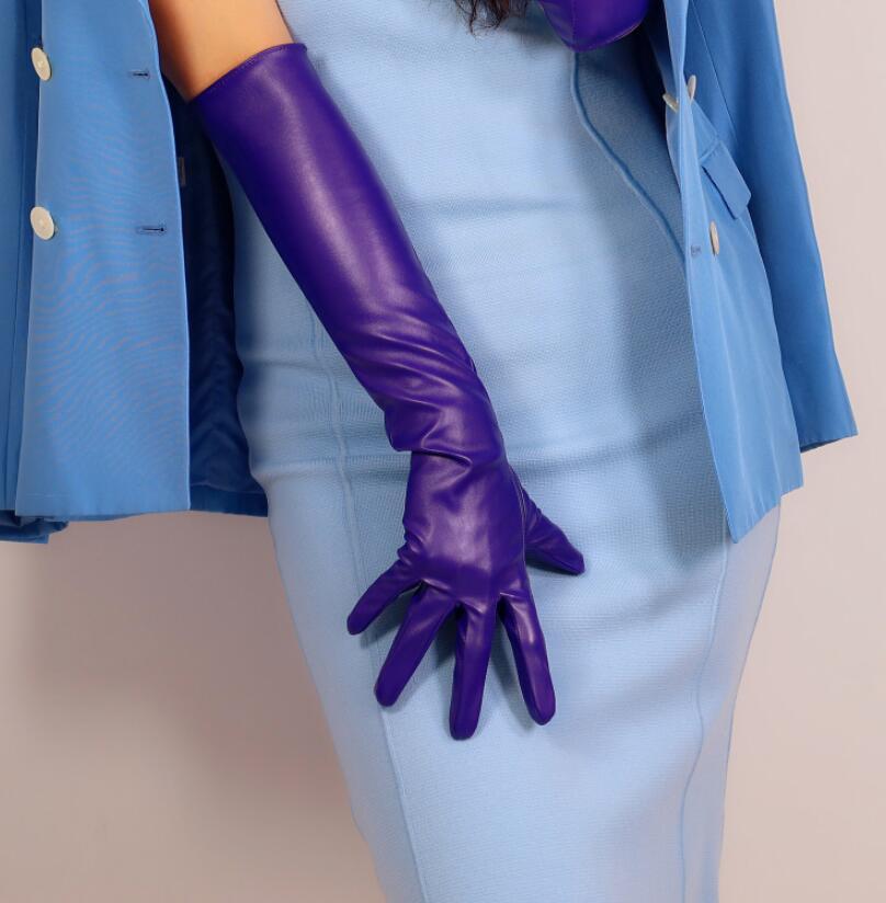 Women's Fashion Dark Purple Sexy Slim Faux Pu Leather Glove Lady's Club Performance Formal Party Leather Long Glove 50cm R2606