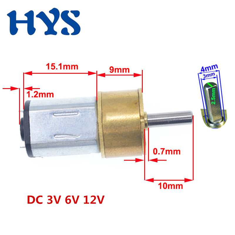HYS Mini Motor DC 3V 6V 12V Gear Electric Reducer Motors DC 12 volt 25/35/148/300/1000rpm Micro Motor Metal Smartlock 14GA-N20