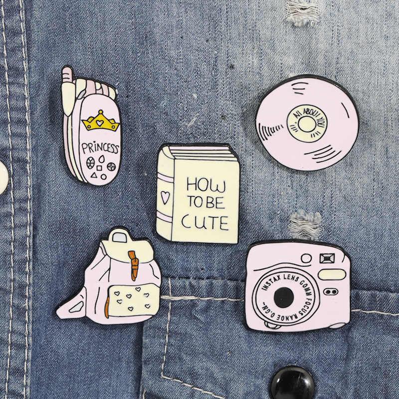 3 ~ 8 sztuk/zestaw metal emalia pin cartoon drukarki automat do gier telefon komórkowy torba CD przenośne audio roślin zęby mysz broszka biżuteria