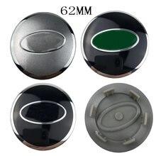 60 pçs/lote 62mm verde preto bonito do centro de roda do carro cubo tampas de aro