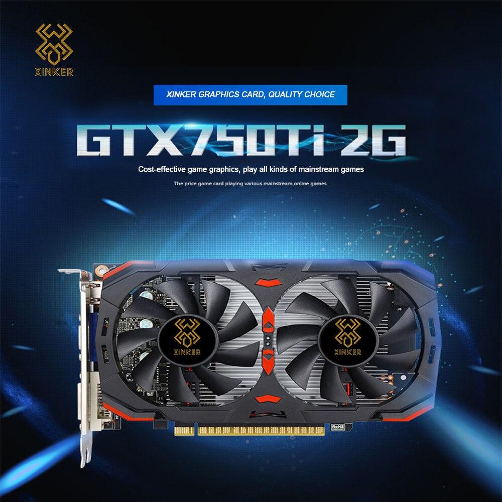 2GB Placas Gráficas GTX 750ti GTX 750 Ti 2 GTX750ti G D5 DDR5 128 Bit Pc Desktop Pci Express placa Gráfica do computador Adicionar no Cartão
