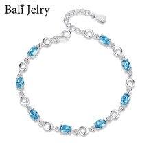 BaliJelry Trendy bransoletka ze srebra próby 925 biżuteria w owalnym kształcie Sapphire Gemstones 2020 akcesoria dla kobiet prezent zaręczynowy ślubny