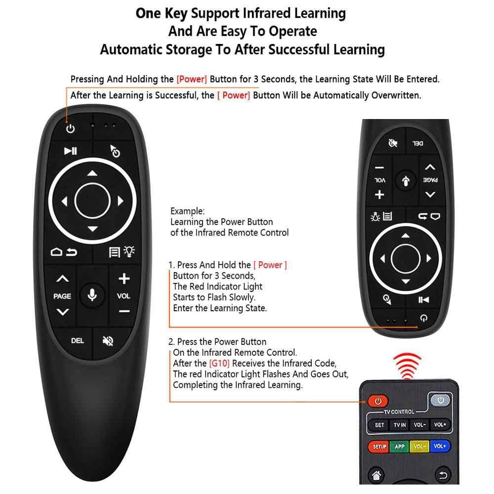 L8STAR G10 Air Mouse sterowanie głosem z 2.4G odbiornik USB Gyro wykrywania Mini bezprzewodowy inteligentny pilot zdalnego dla systemu Android TV, pudełko HK1 X96mini