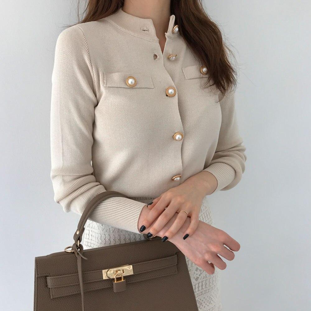 Beading Buttons Designer Cardigan Women Sweater Winter Autumn 2020 Fashion Koean ErKnitted Sweaters Female Outwear Casual Tops