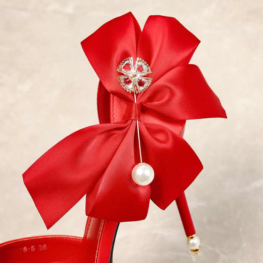 Cánh Mũi Giày Xăng Đan Nữ Satin Cột Dây Nữ Bơm Cưới Giày Nữ Cao Gót Quai Đơn Giản giày Xăng Đan 4 Màu