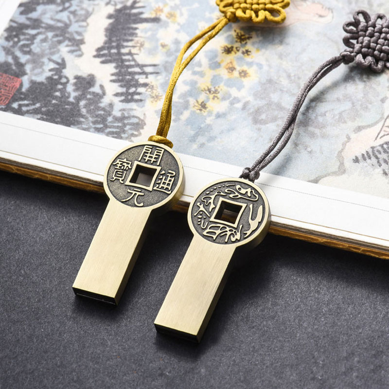 16G 32G 64G 128G Traditional Chinese Knot Design Pendrive Old-fashioned Copper Cash Design Pen Drive Gift Usb Flash Drive флешка