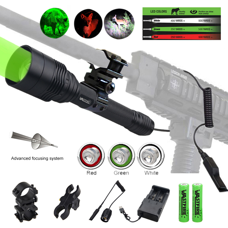 ZOOMABLE Hunting flashlight 3 light white green red Tactical Flashlights 18650 Aluminum C11 Waterproof Lamp Gun Mount